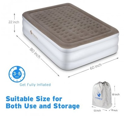 Dimensions of the Etekcity Air Mattress